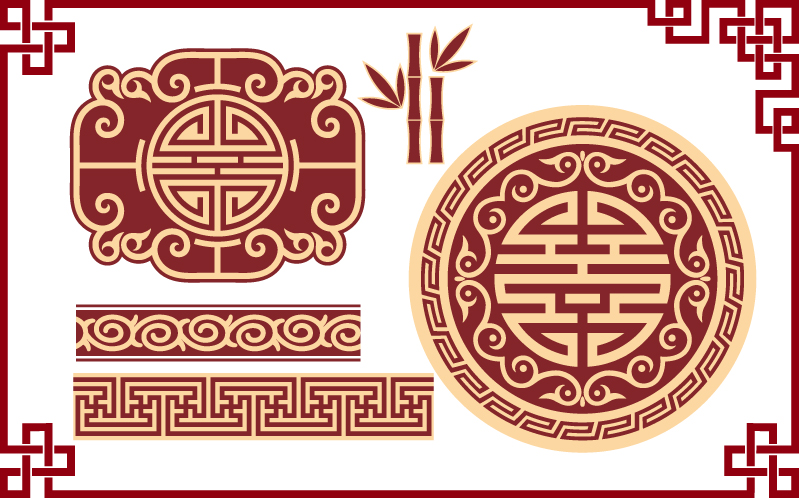 Chinese classical pattern vector wealth patterns Free Vector / 4Vector