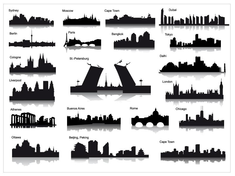 City Landmarks Silhouette