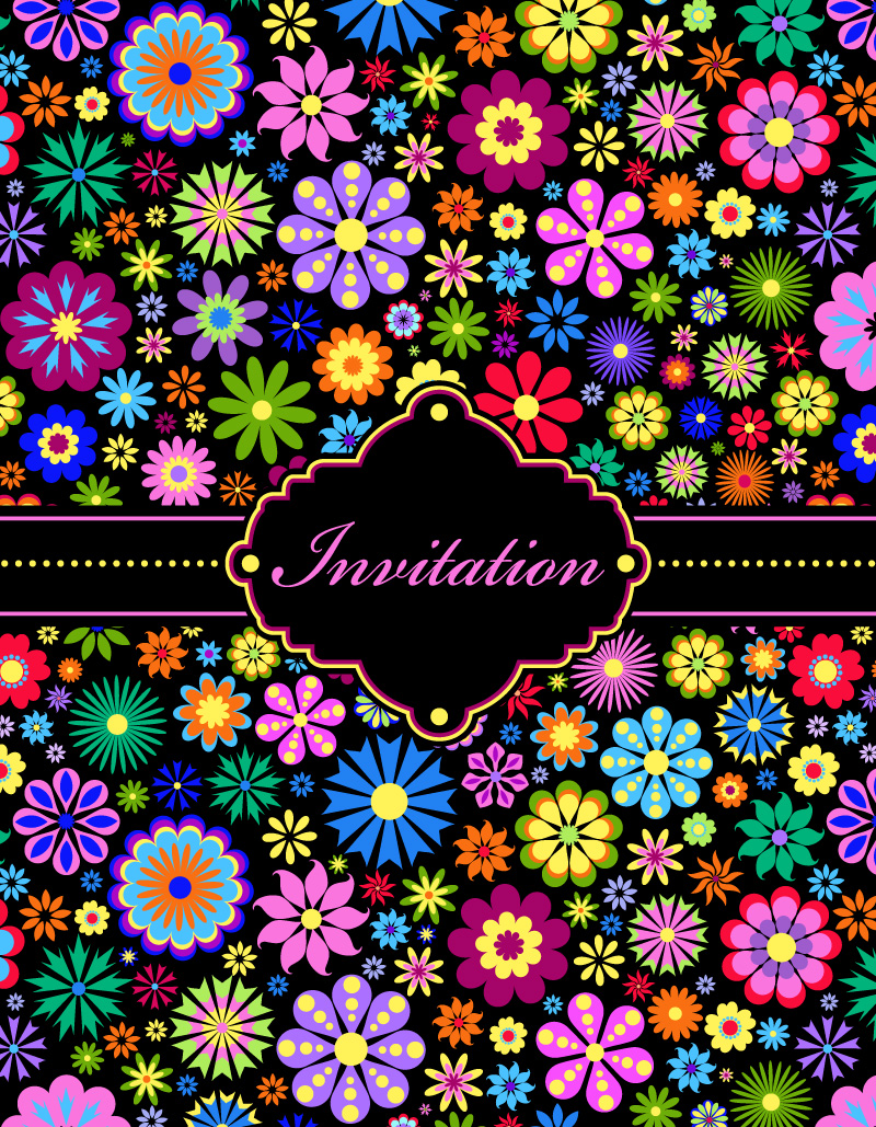 Colorful Flowers Invitation Card