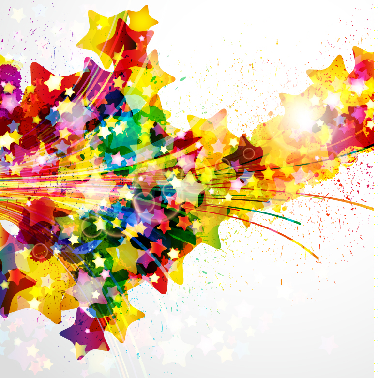 Colorful Star Splashes Background