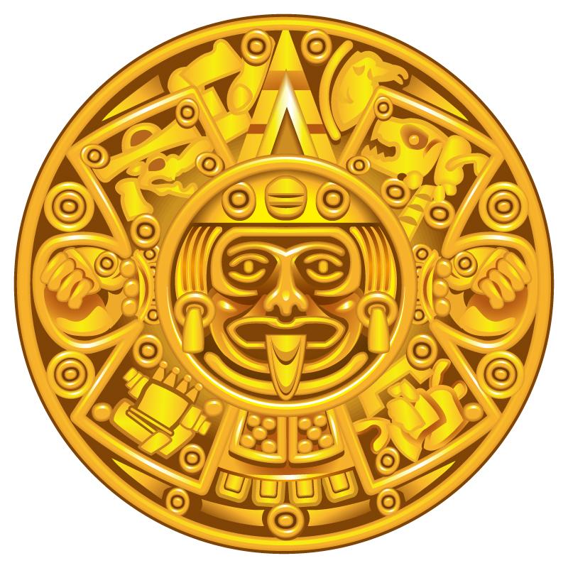 Gold Mayan Calendar Plate
