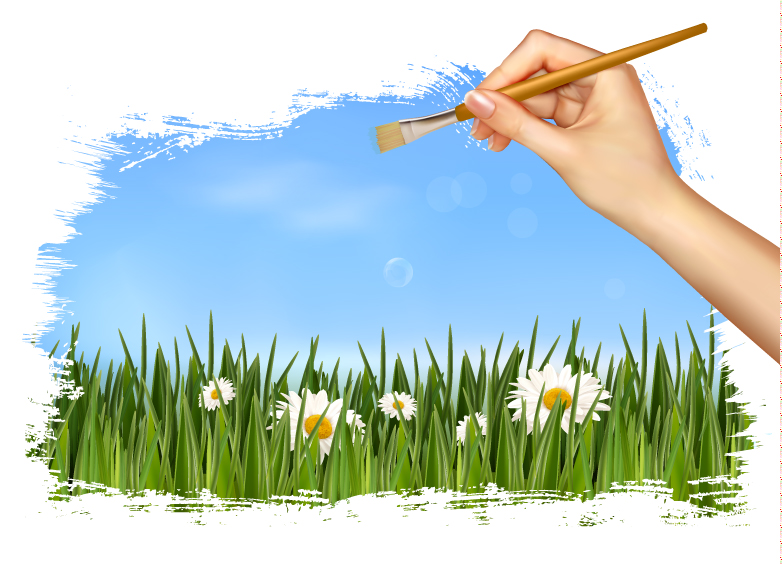 Hand Holding Brush Nature Background