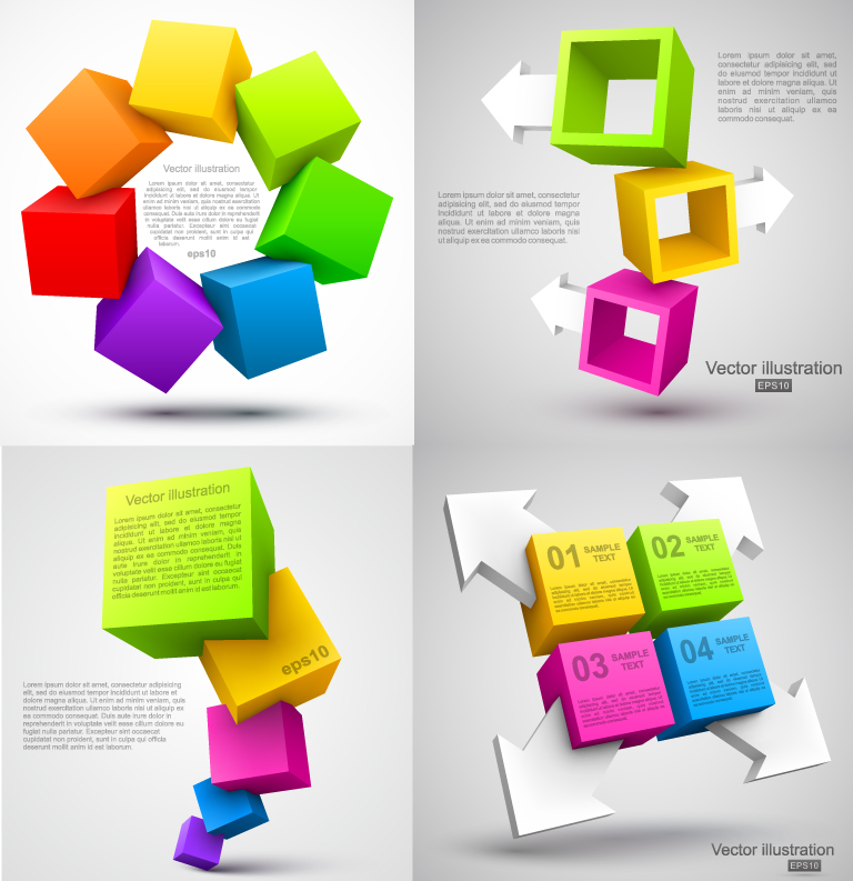 Infographics Arrow Cubes