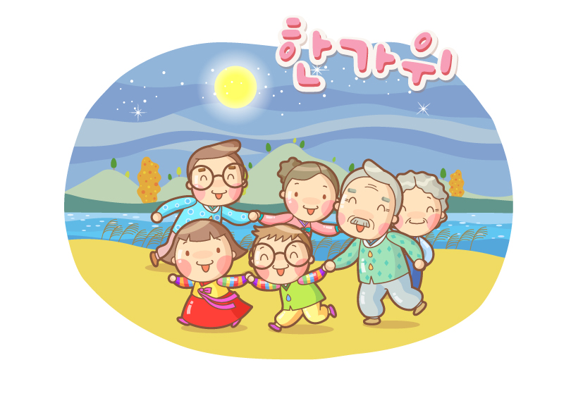 Korea Cartoon Family