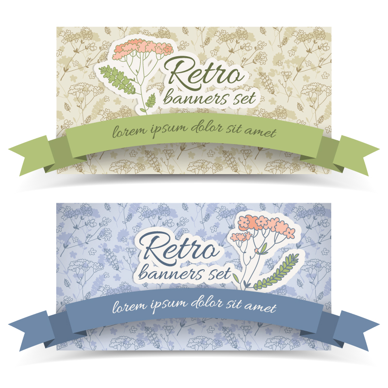Retro Flower Banners 3