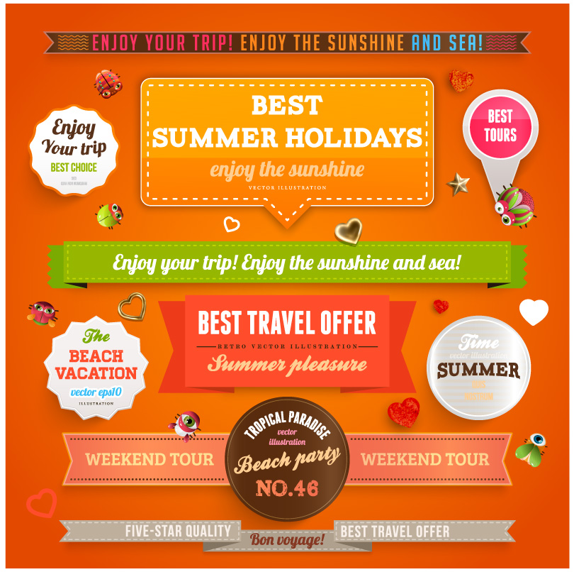 Summer Holidays Travel Stickers
