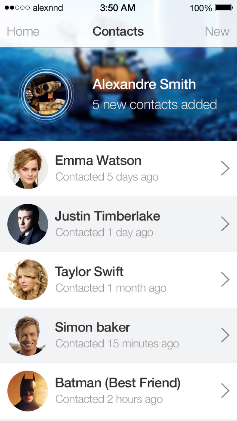 iOS7 style Contacts