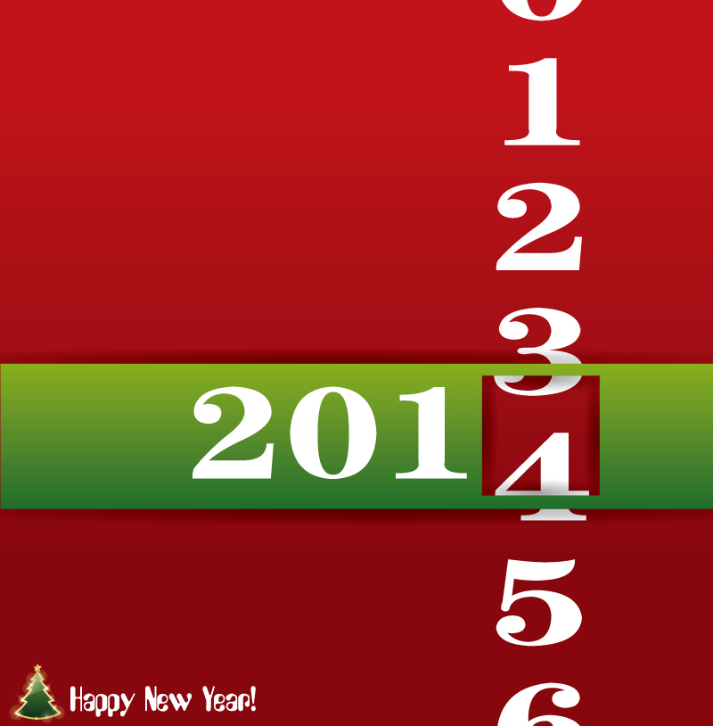 2014 Rolling Digital Greeting Card Design Vector
