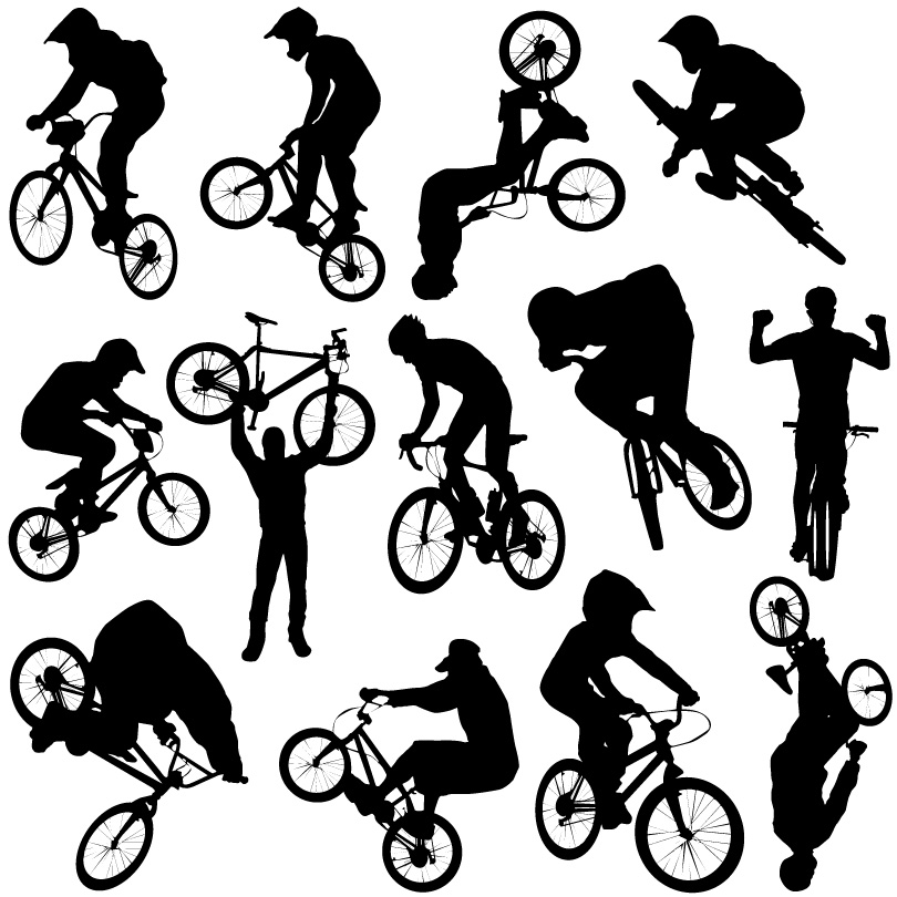 Bike Cross-country Sport Silhouettes Vector