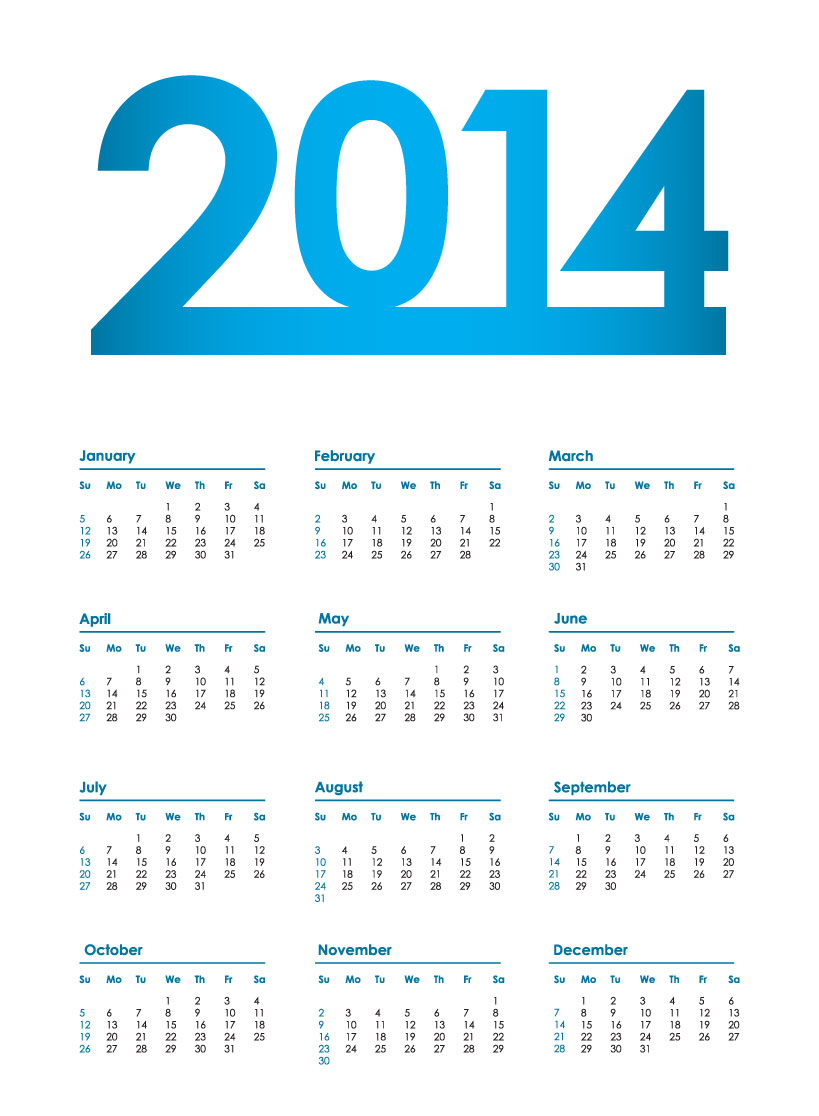 Free 2014 Calendar with Holidays