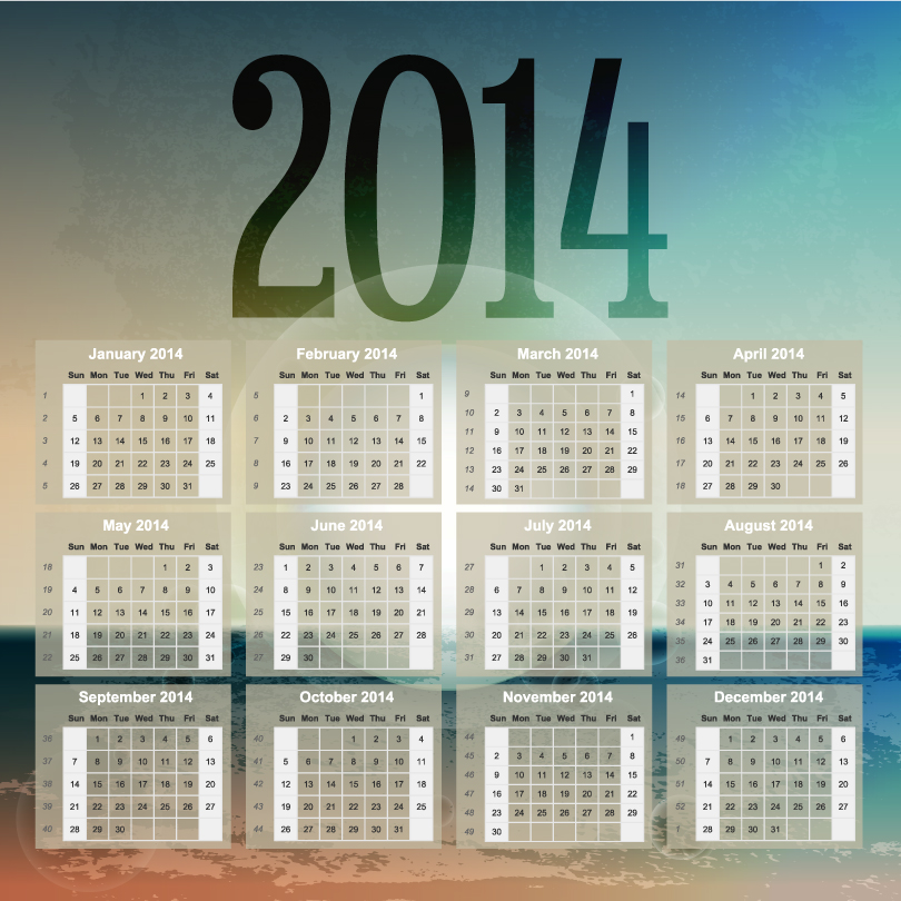 Calendar 2014 50 Vector free download