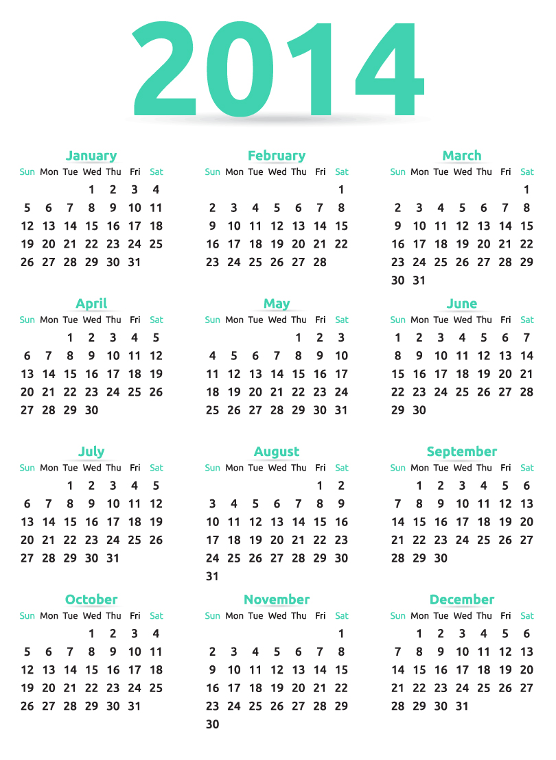 Calendar 2014 52