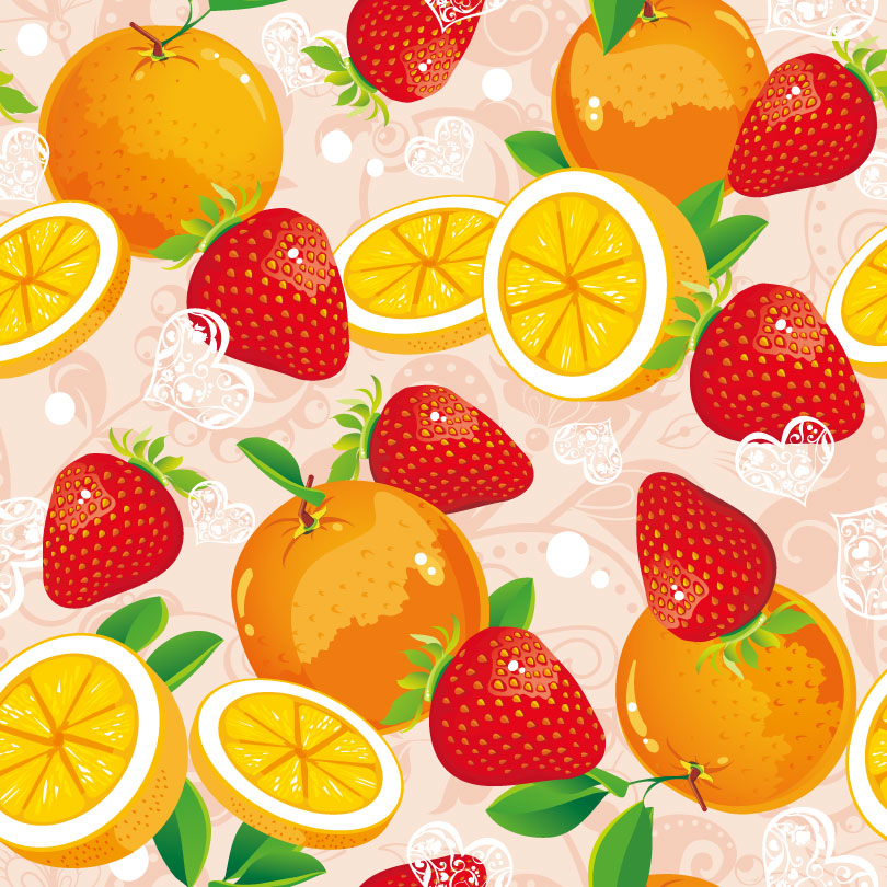 Delicious Orange Strawberry Illustrator Vector