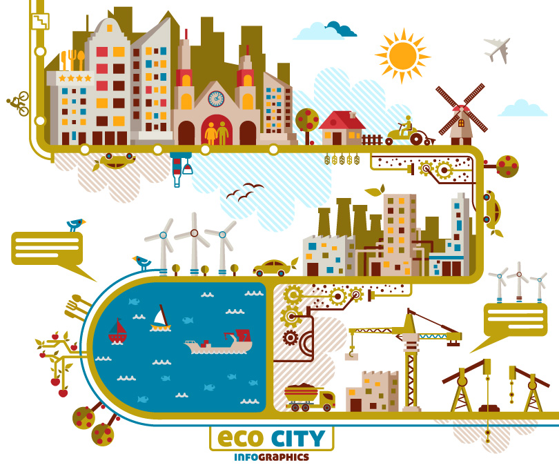 Infographics ECO City Vector