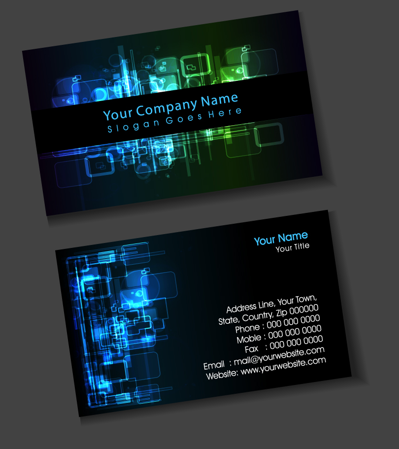 Light Efficiency Black Business Card Vector