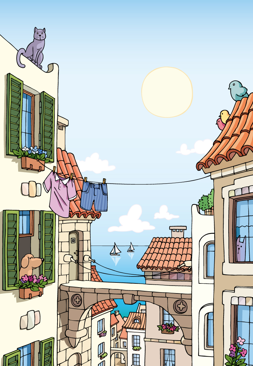 Relaxed Summer Town Vector