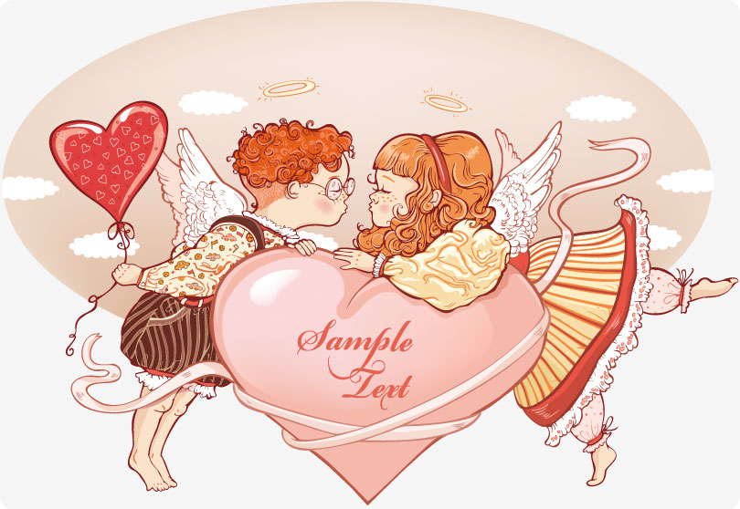 Romantic Painting Angels Vector