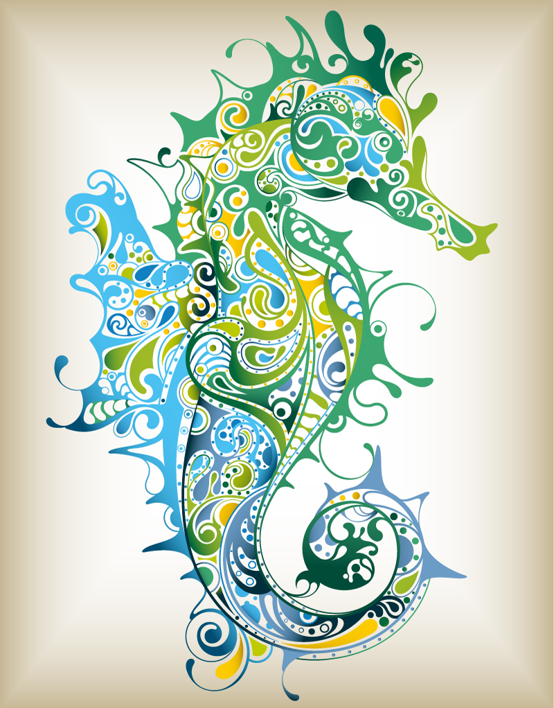 Seahorse Pattern Vector