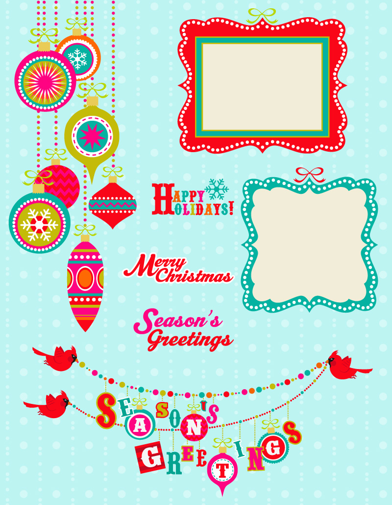 Seasons Greetings Frame Vector