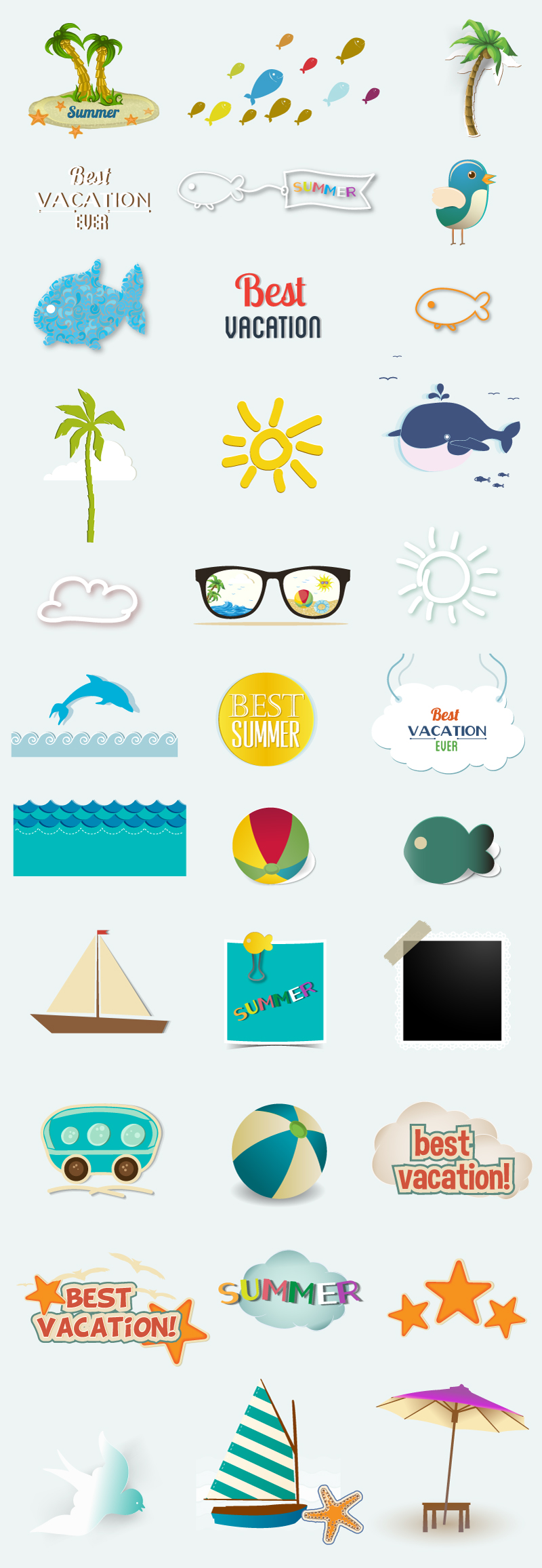 Summer Vacation Elements Vector