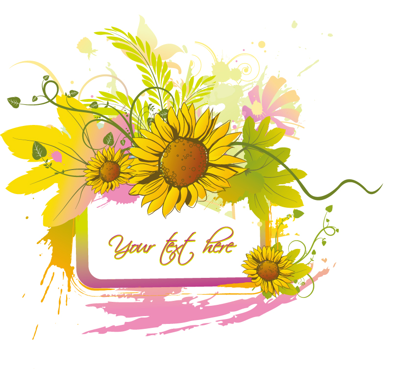 Sunflower Border Background Vector