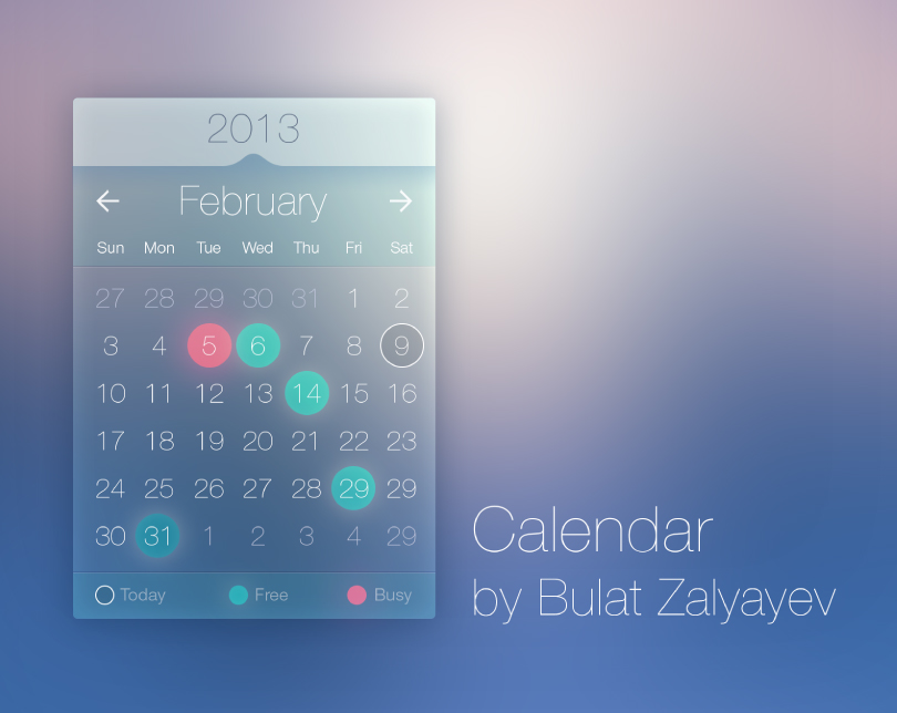 Transparent Calendar Interface Vector