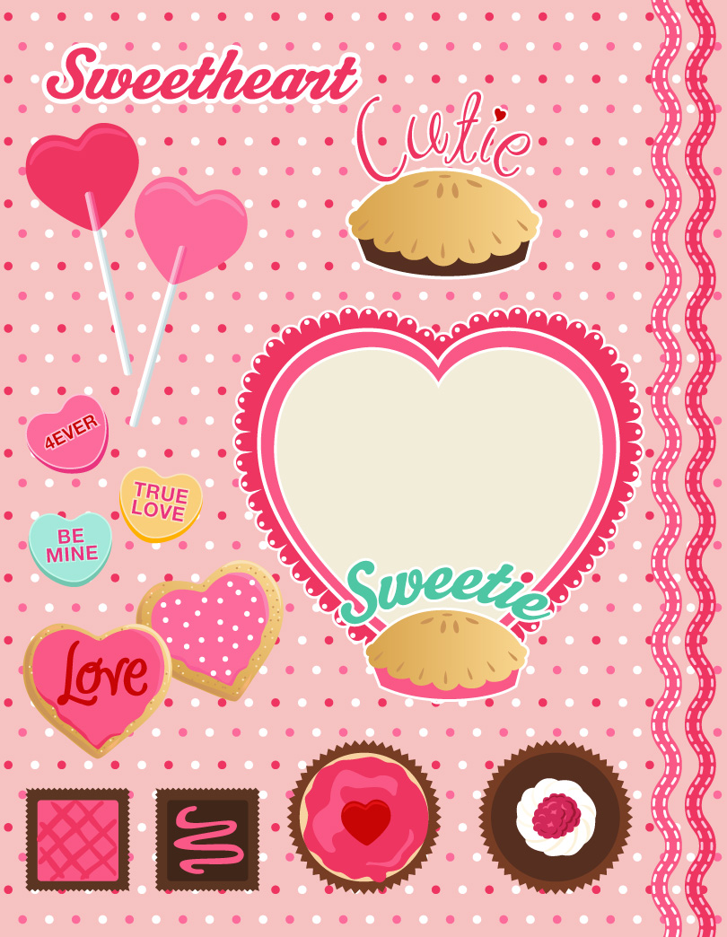 Valentines Treats Cake Vector