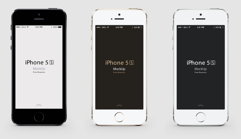 3 Colors iPhone 5S PSD