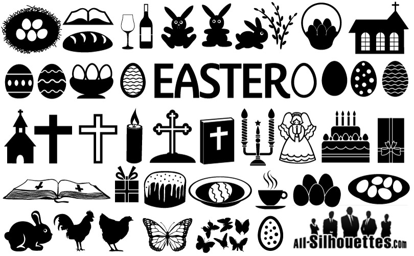Black Easter Icons Vector