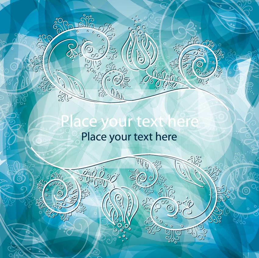 Blue Fantasy Floral Background Vector