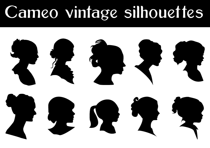 Cameo Vintage Silhouettes Vector