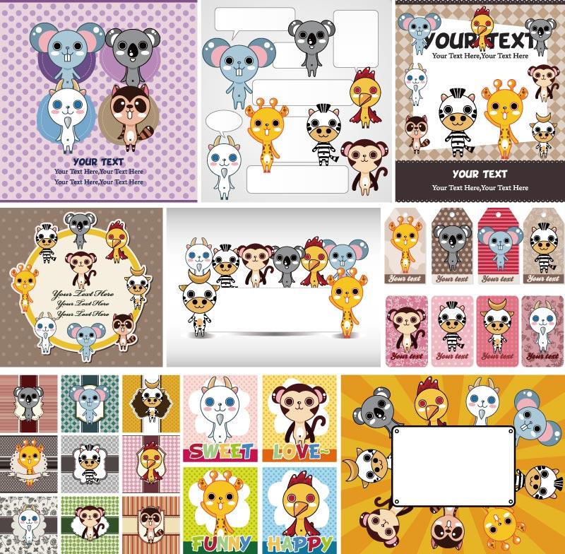 Cartoon Animal Card Design Vector