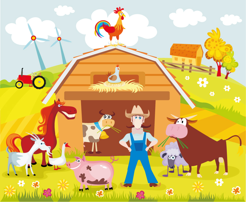Cartoon Farm Estate Vector