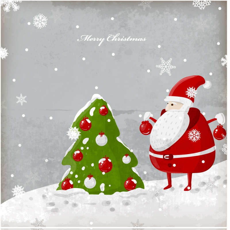 Cartoon Santa Card Vector