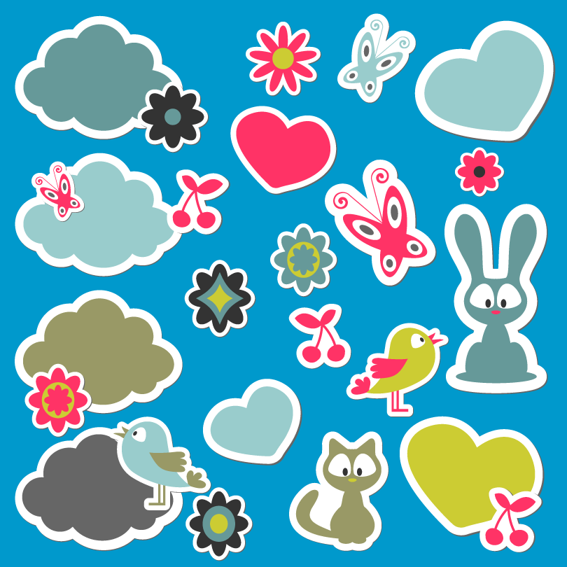 Cartoon Sticker Design Vector