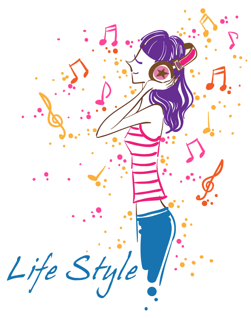 Fashion Music Girl Vector