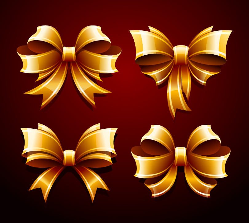 Golden Bow Decoration Design Vector