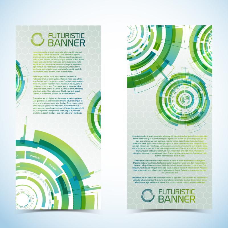 Green Futuristic Banner Vector