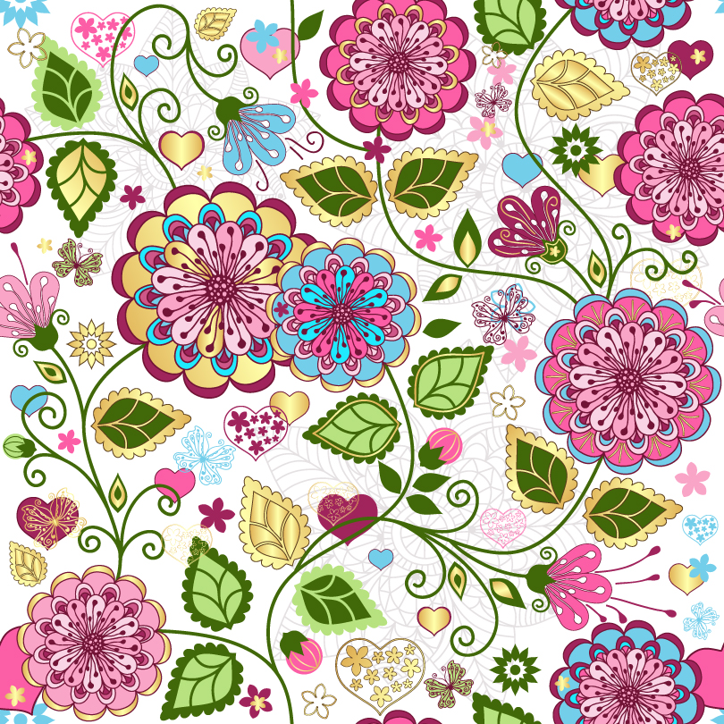 Hand-Painted Flowers Background Vector