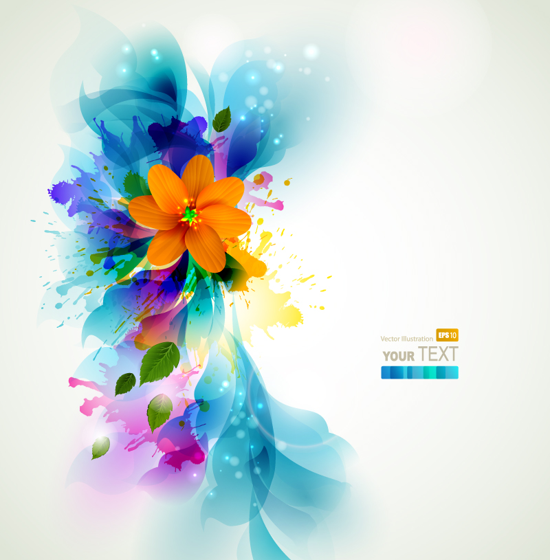 Inkjet Floral Background Vector