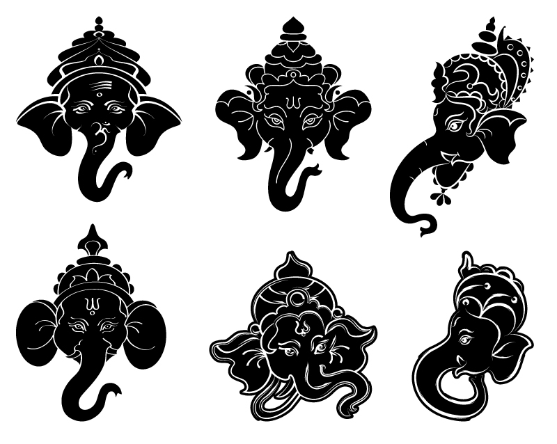 Lord Ganesha Black Icon Vector