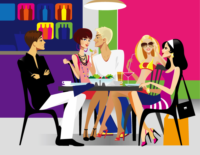 People afternoon Chat Vector