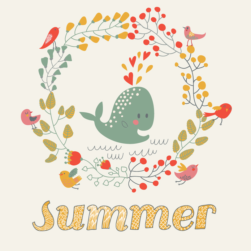 Summer Whale Illustration Vector