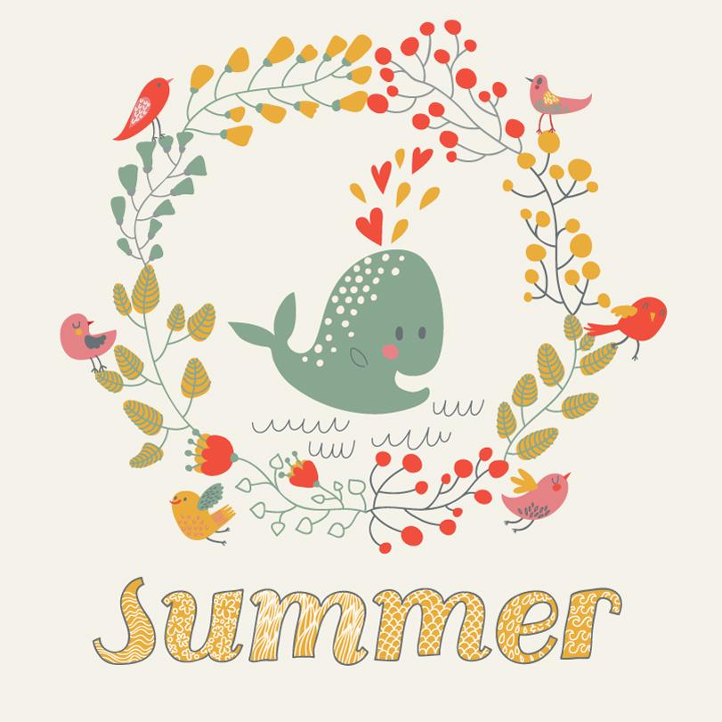 Summer Whale Illustration Vector