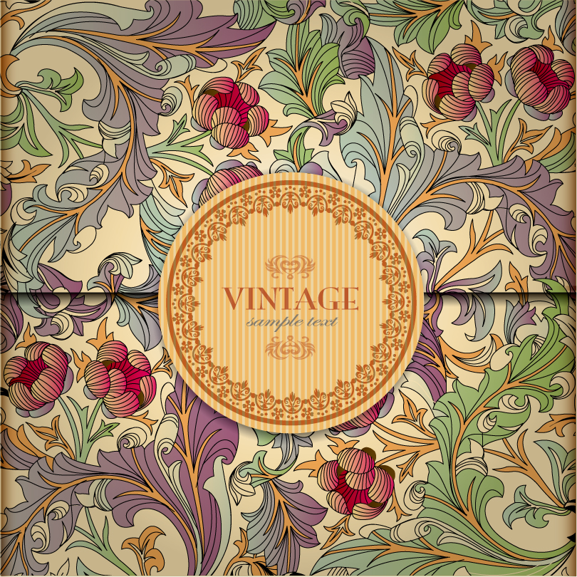 Vintage Pattern Label Background Vector