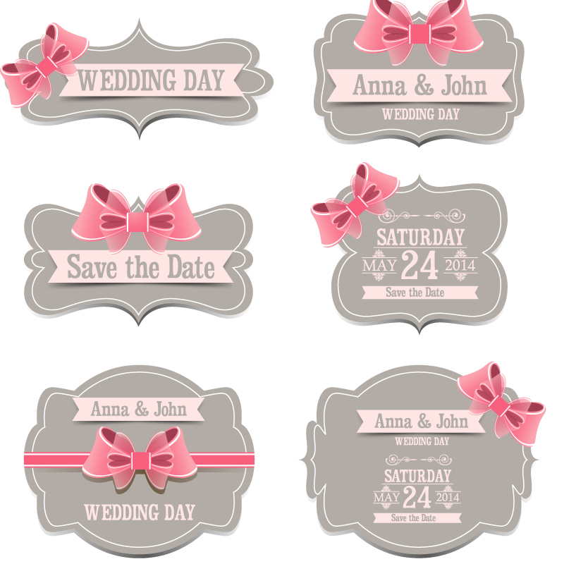 Wedding Day Ribbon Label Vector