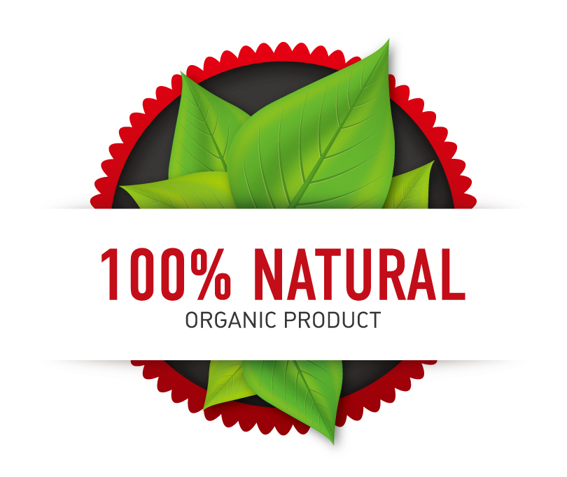 100% Natural Organic Product Vector