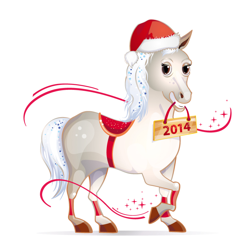 2014 Year of Horse Cartoon Card Design Vector