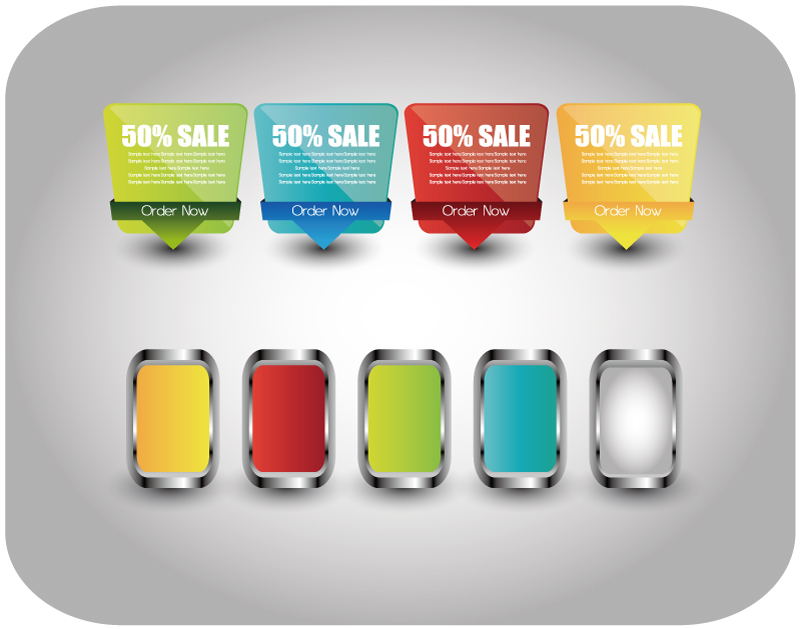 4 Color 50% Sale Labels Vector