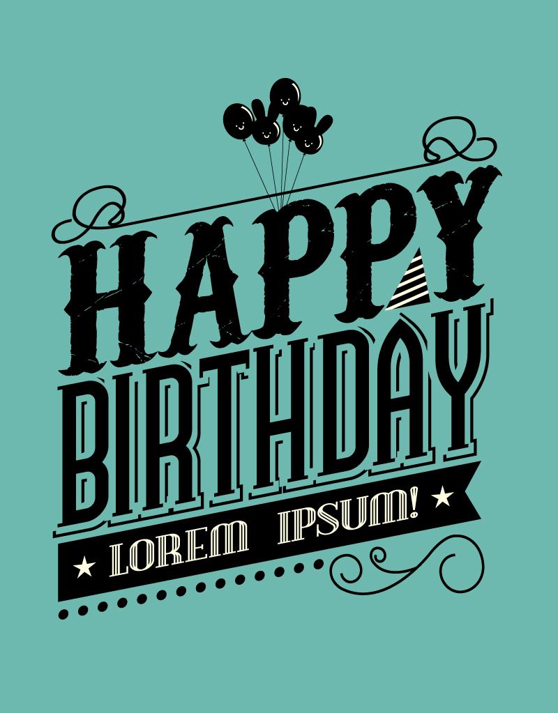 Happy Birthday Schriftart ~ Black happy birthday vector free graphic download